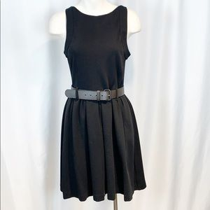 Theory Black Pleated Fit and Flare Belted Dress 4